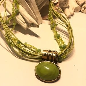 Green Cabochon , Bead and String Multi-Strand